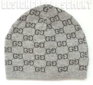 b49b0e7939b GUCCI 2-tone Gray GG 100% Cashmere knit BEANIE Skully hat NWT ...