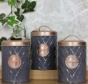 Set-Of-3-Copper-Grey-Tea-Coffee-Sugar-Canisters-Kitchen-Storage-Tin-Jars-Pots