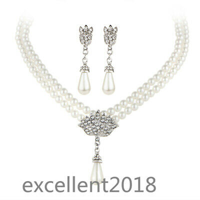 Women Silver Water Drop Pearl Flower Bridal Necklace Earrings