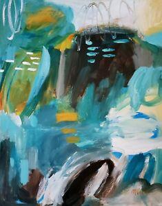 Mona-Vivar-original-abstract-landscape-modern-blue-art-painting-20x16