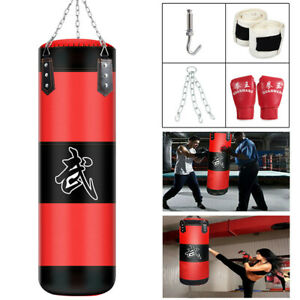 Unfilled-Heavy-Boxing-Punching-Bag-Training-Gloves-Set-Kicking-MMA-Workout-80CM