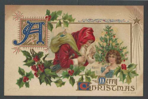 1909 PPC Xmas Greetings WSanta & Child Embossed Posted
