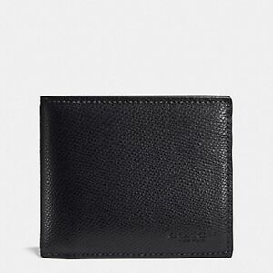 NEW Coach Black Men/'s Compact ID Crossgrain Leather Wallet F59112