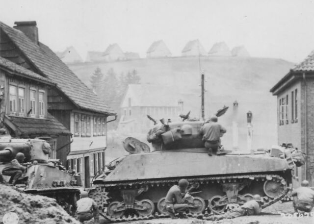 WWII B&W Photo Sherman Tank Engages Snipers US Army Germany 1945  WW2 / 3053