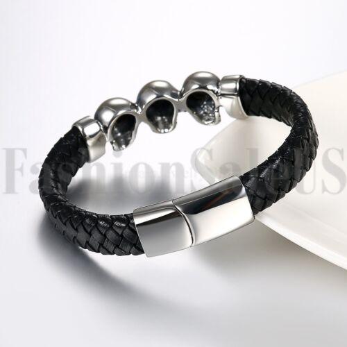 Punk Crâne cuir bracelet handmade Hommes Femmes Bracelet Gourmette Boucle en Métal NEUF