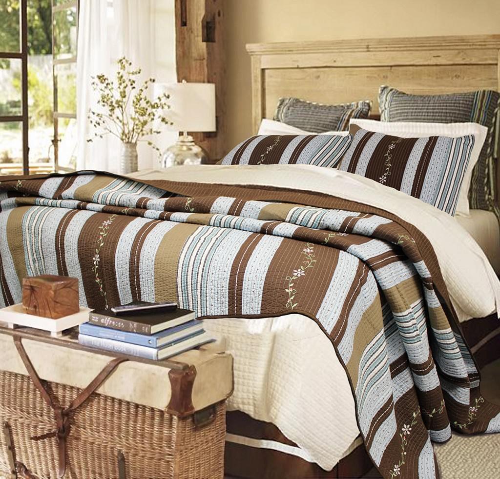 Mary Ann Reversible 100%Cotton 3-Piece Quilt Set, Bedspread, Coverlet