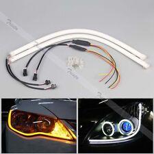 2x 45cm Flexible Soft Tube Car LED Strip White DRL&Amber Turn Signal Light #Y5