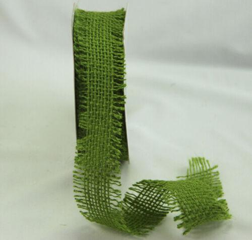 You choose colour per metre Card Making GREEN TARA BURLAP 38mm RIBBON//TRIM