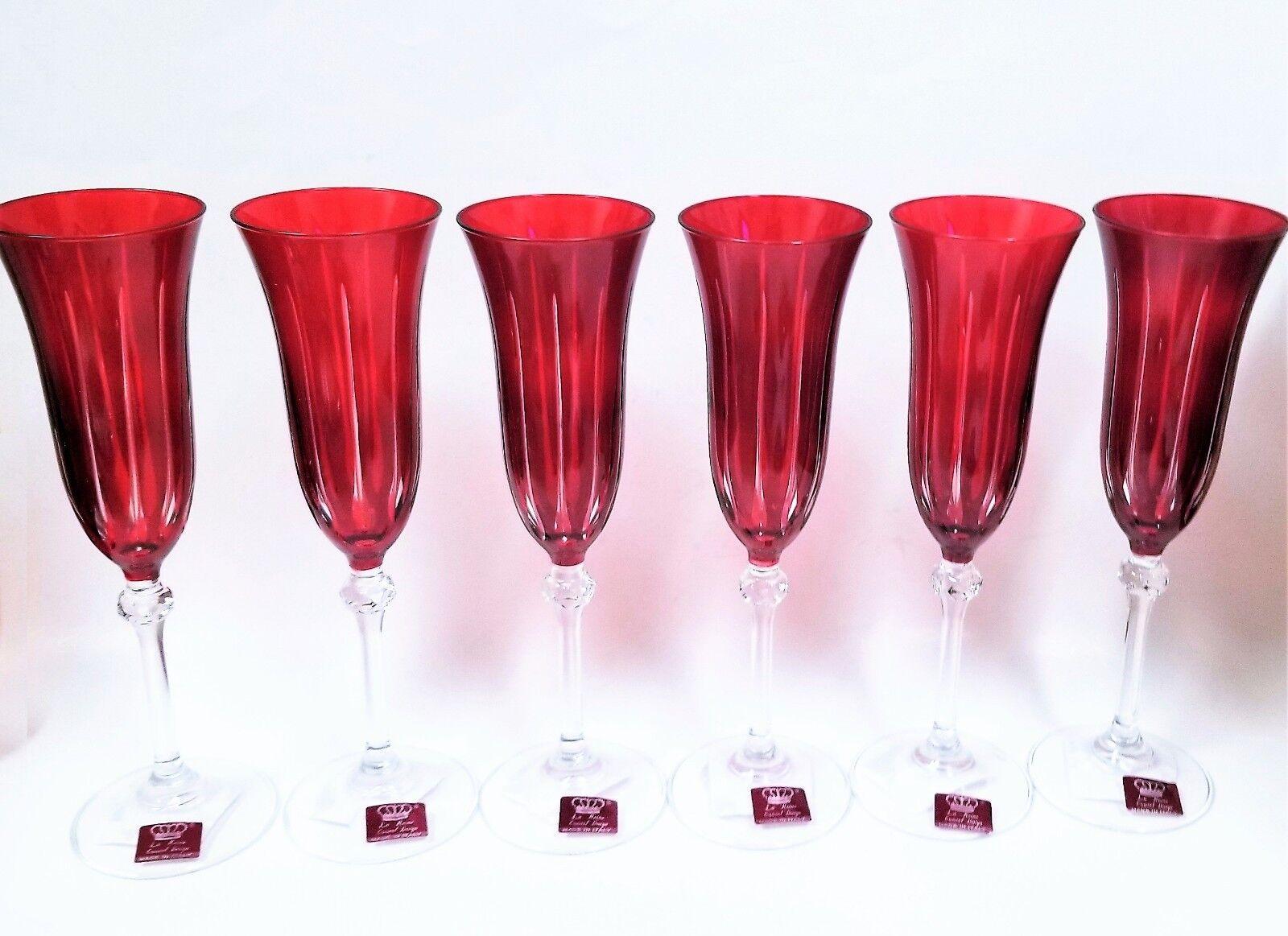 La Reine Set di 6 Rosso Rubino + Trasparente Righe Calice di Champagne Vetro
