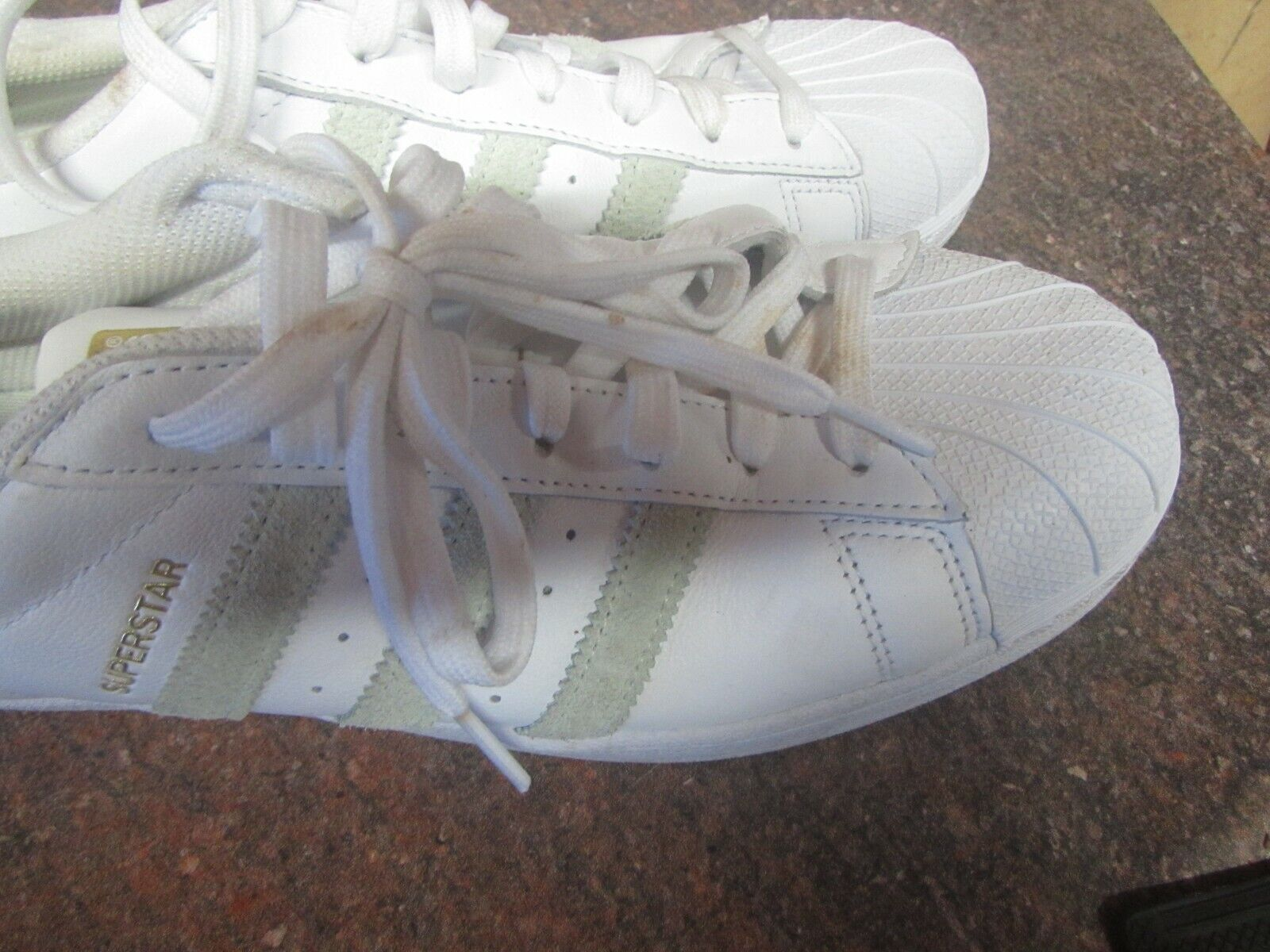 huge discount 4fb1c 8017e Adidas SuperStar White with Green Stripes Stripes Stripes ...