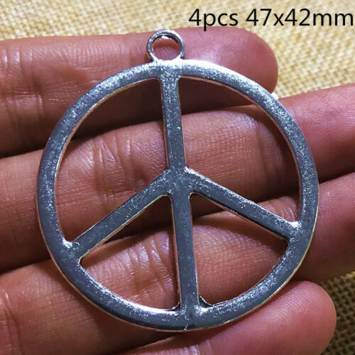 4pcs 47x42mm Large Peace Sign Charms Antique Silver Tone Pendant Bead Making DIY