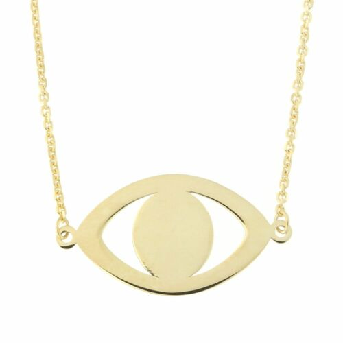 "16/""-17/""-18/"" Beauniq 14k Yellow Gold Evil Eye Necklace"