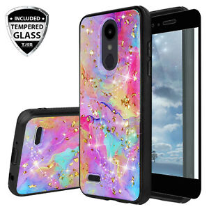 91ba8807eac74 Details about For LG Rebel Phoenix Aristo 4/3/2Plus Marble Rainbow Glitter  Case+Tempered Glass