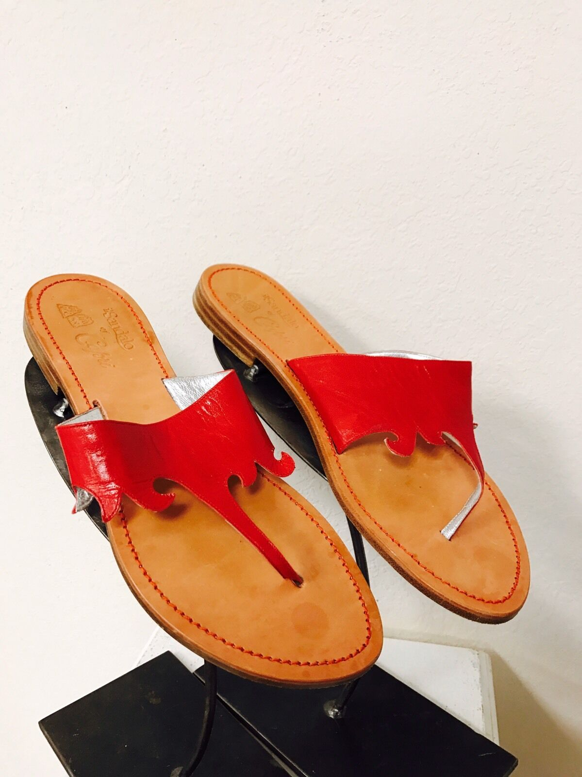 IL Sandalo of Capri Red Leather Thong Sandals Flats 40 10