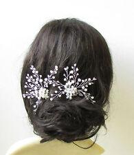 2 White Silver Pearl Bridal Vine Hair Pins Flower Bead Wire Headpiece Set 1390