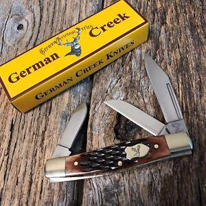 GERMAN-CREEK-3-3-4-034-Stockman-Pocket-Knife-Three-Blade-Brand-Brown-Jigged-Bone