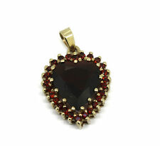 Granat Herz Anhänger - 333er Gelbgold - großes dunkelrotes Granat Herz
