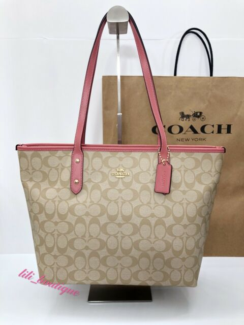 ddc8586e8204 NWT Coach F58292 City Zip Tote Handbag Purse PVC Signature Light Khaki  Peony 295