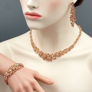 ROSE GOLD Plated Crystal Necklace Earrings Bracelet Wedding Jewelry
