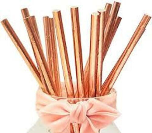 party,cocktails 20 ROSE GOLD Foil paper straws,bio degradable,Christmas
