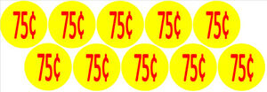 10-Price-Stickers-VENDING-MACHINE-CANDY-STICKERS-LABEL-75-Cent-Free-Shipping