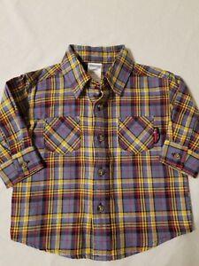 NWT-Gymboree-Boys-Button-Down-Shirt-Size-3-6-Months-Blue-Yellow-Plaid-L-S