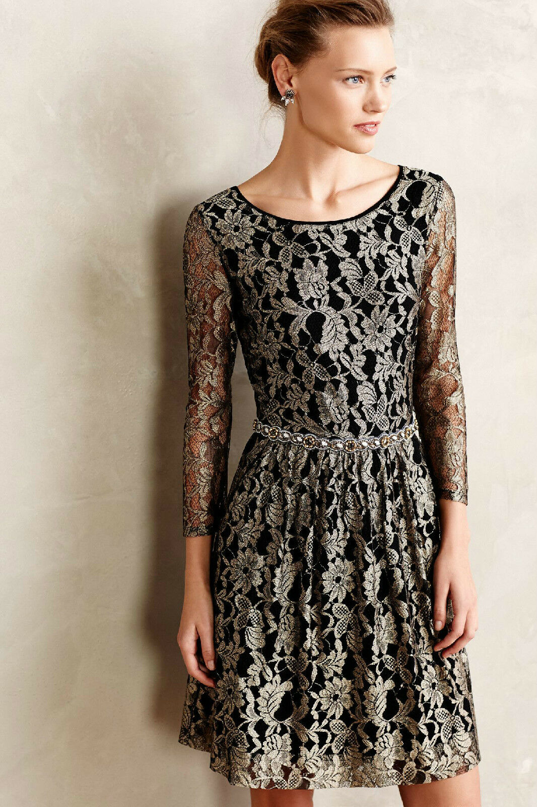NEW 2 Anthropologie Shimmered Lacefall Dress by Maeve Flattering Gorgeous