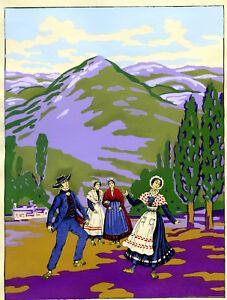 1930s-French-Pochoir-Print-Art-Deco-Sicilian-Peasants-Dancing-Italian-Landscape
