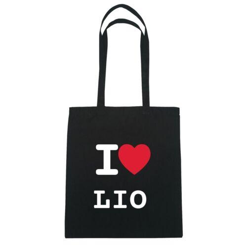 schwarz Farbe Jutebeutel Tasche Beutel Hipster Bag I love LIO
