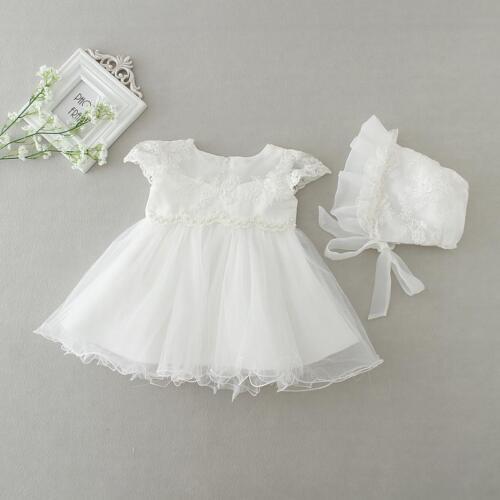 Blumen Perlen Spitze Taufkleid Tutu Baby Stickerei Taufe Kleid Häubchen