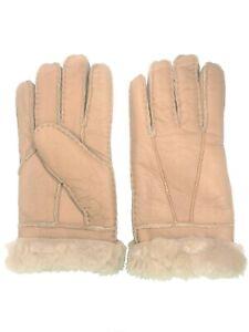 Women-039-s-Genuine-Sheepskin-Lite-Brown-Tan-Warm-Leather-Shearling-Fur-Gloves