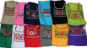 Peasant-Tunic-Hand-Embroidered-Mexican-Puebla-Blouse-Top-Assorted-Colors