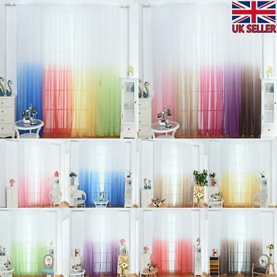 Gradient Window Screening Net Curtain Sheer Yarn Tulle Ombre Drape Voile Valance Ebay