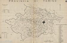 Provincia Torino:Tutti i Comuni nel 1938,Carta Topografica.Anno XVI Era Fascista