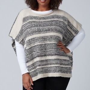 Lane-Bryant-Womens-Short-Knit-Poncho-Sweater-OS-One-Size-Palomino-Tan-Black-New