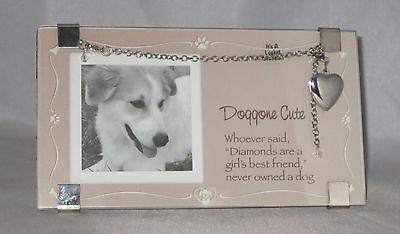 Dog Picture Frame Locket Bracelet Set New Doggone Cute Whoever Said Diamonds Are