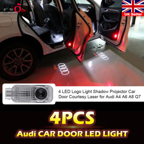 4 LED Logo Light Shadow Projector Car Door Courtesy Laser for Audi A4 A6 A8 Q7