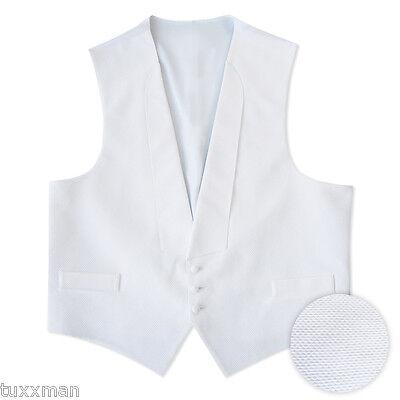 NEW White PIQUE Fullback Tuxedo Vest ONLY U.S.A. Debutante Ball Formal S M L XL