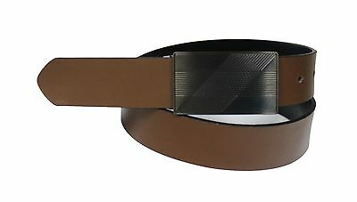 Men/'s Casual Black and Brown Reversible Plaque Belt buckle 913-BLK//BRN-REV
