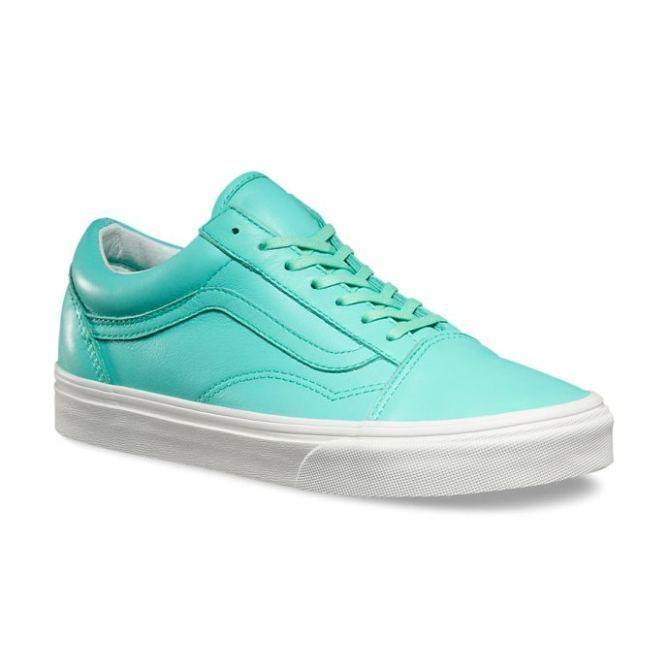 VANS Old Skool (Pastel Pack) Ice Green/Blanc Leder Skate WOMEN'S 8.5