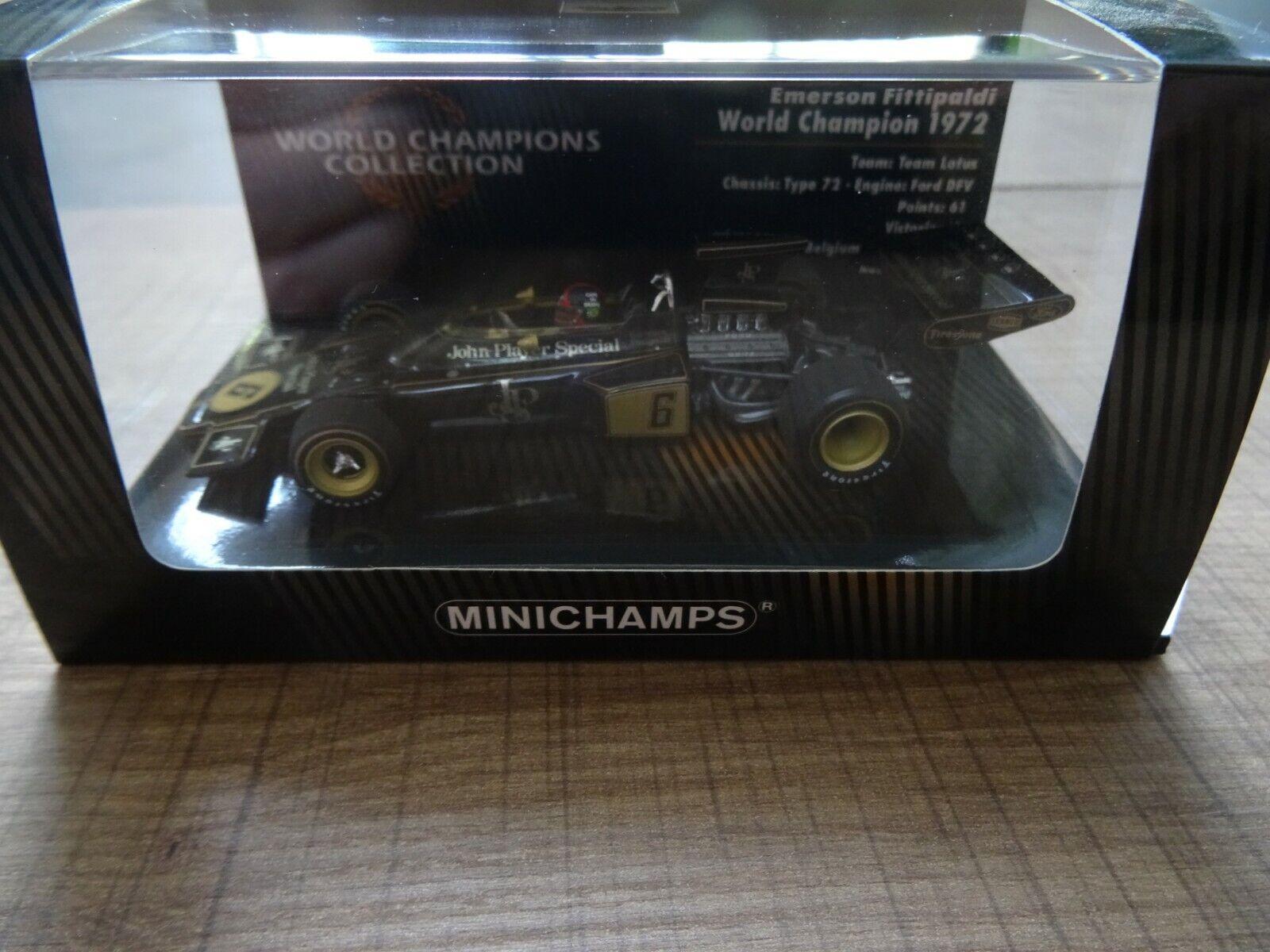 MINICHAMPS LOTUS 72   E. FITTIPALDI WORLD CHAMPION 1972 1 43  WITH SPONSOR DECALS  expédition rapide
