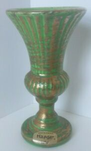 Haeger-Floral-Vase-with-Sticker-and-Marked-312-Green-Vase-Gold-accents-Pristine