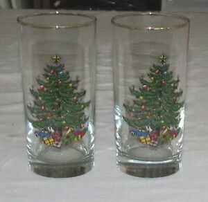 Cuthbertson-Original-Christmas-Tree-TWO-5-5-inch-Glass-Tumblers