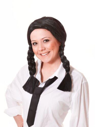Ladies Black Plaits Wig Wizard Of Oz School Girl St Trinians World Book