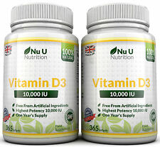 Vitamin D3 10000iu Super Stark 2 Bottles 730 Weiches gel kapseln 100%