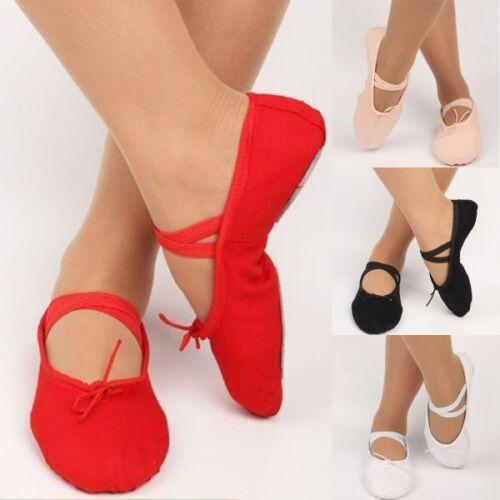 UK Simple Adult Women Soft Split-Sole Canvas Ballet Dance Shoes Dancing Slippers