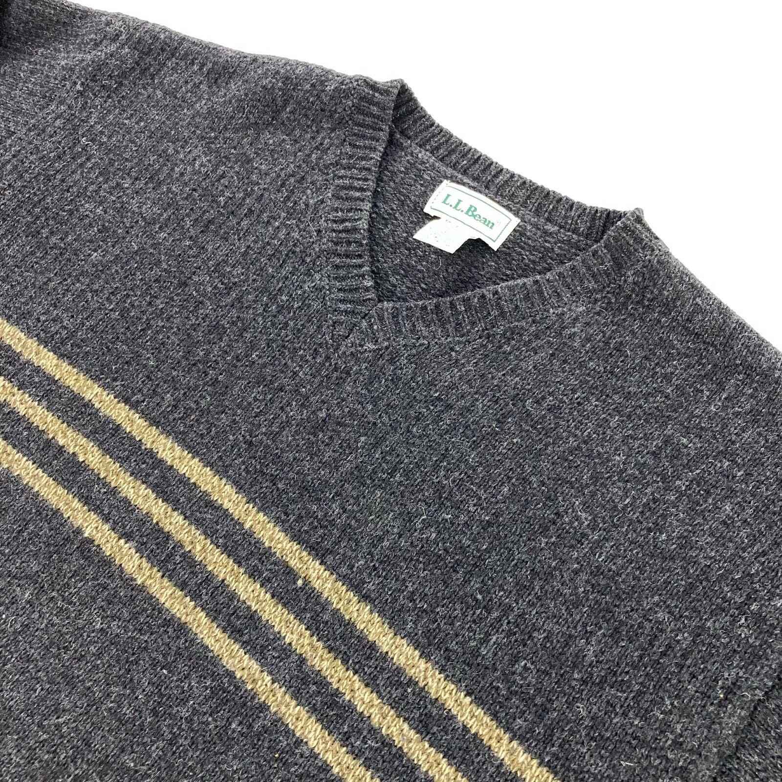 LL Bean Men's Wool V-Neck Sweater Gray • Large - image 1
