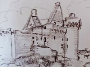 ALBERT-WALLAT-1917-1997-Kohlezeichnung-Landschaft-Schloss-Felsenburg
