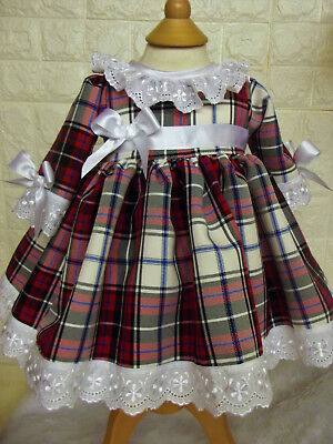 DREAM SPANISH TRADITIONAL RED WHITE BLUE TARTAN  DRESS 0-5 YEARS or reborn
