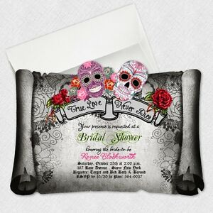 Sugar Skull Bridal Shower Invitations Day Of The Dead Wedding ...